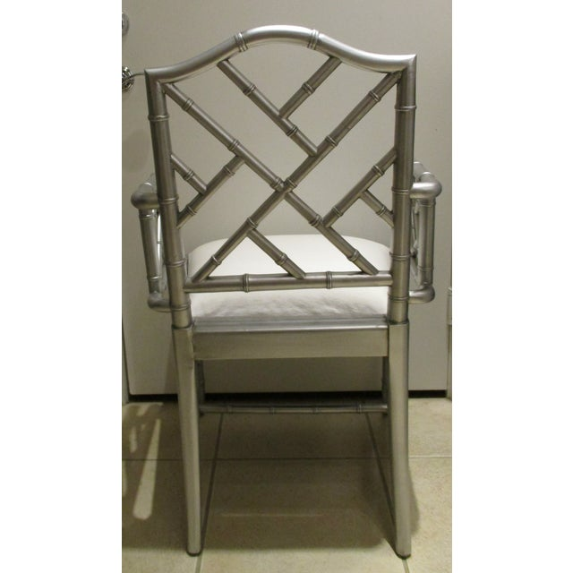 Asian 1970s Vintage Chinese Chippendale Hollywood Regency Silver Bamboo Arm Chairs- Set of 4 For Sale - Image 3 of 9
