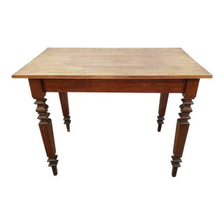Vintage French Neoclassical Small Oak Writing Desk/ Kitchen Table For Sale
