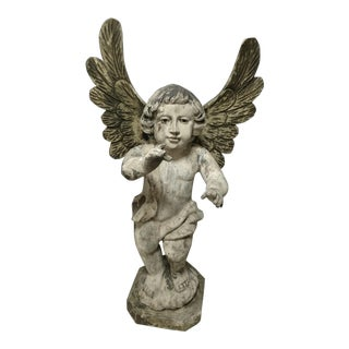 Vintage Carved Religious Sculpture of Standing Angel For Sale
