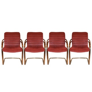 Vintage Gold Cantilever Dining Chairs - Set of 4 For Sale