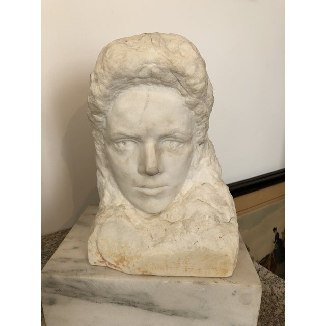 Realism Alabaster Marble Bust For Sale - Image 6 of 6