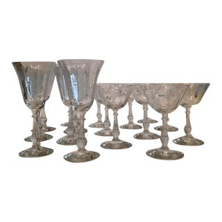 Vintage Art Deco Cut Crystal Rib & Ball Glasses - Set of 16 For Sale