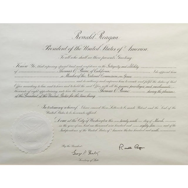 American Ronald Reagan Signed Presidential Appointment to Thomas Paine for Space Commission For Sale - Image 3 of 7