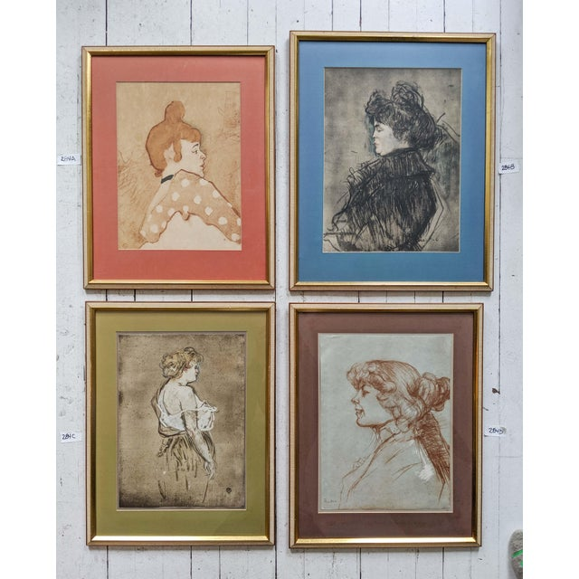 French Women Portrait Prints of 19th Century Artworks by Painter and Artist, Henri De Toulouse-Lautrec. Lot of 4 For Sale - Image 13 of 13
