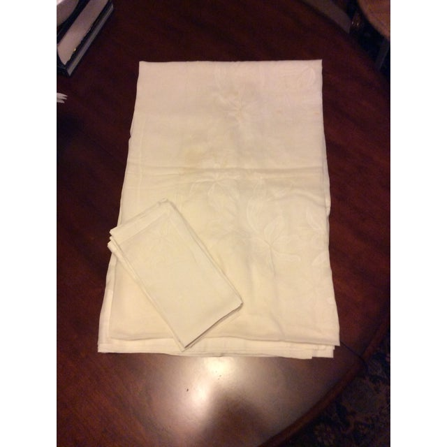 Antique Appliquéd Linen Tablecloth & Napkins - Set of 13 For Sale - Image 12 of 13