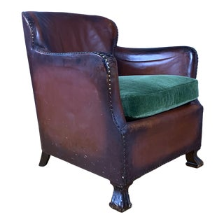 Early 1940s Danish Cognac Leather Club Chair, New Mohair For Sale