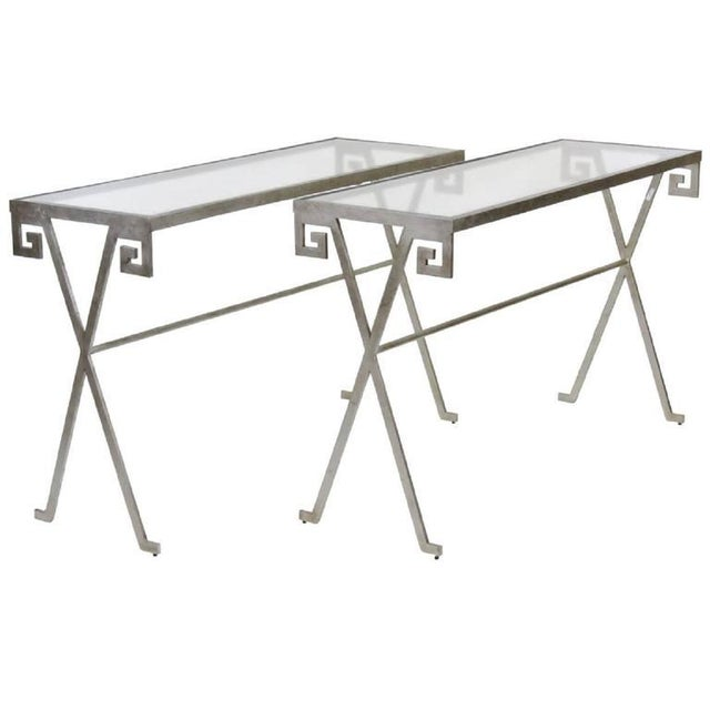 Mid 20th Century Pair of Mid Century Modern Silvered Glass Top Console Tables For Sale - Image 5 of 5