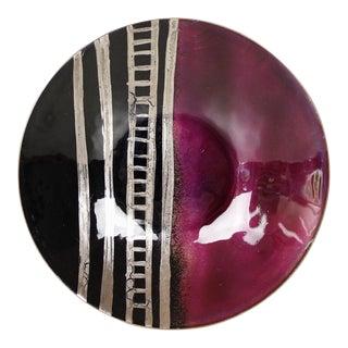 Pnina Burg Jerusalem Enamel Dish Metallic Burgundy Black Gold Modernist For Sale