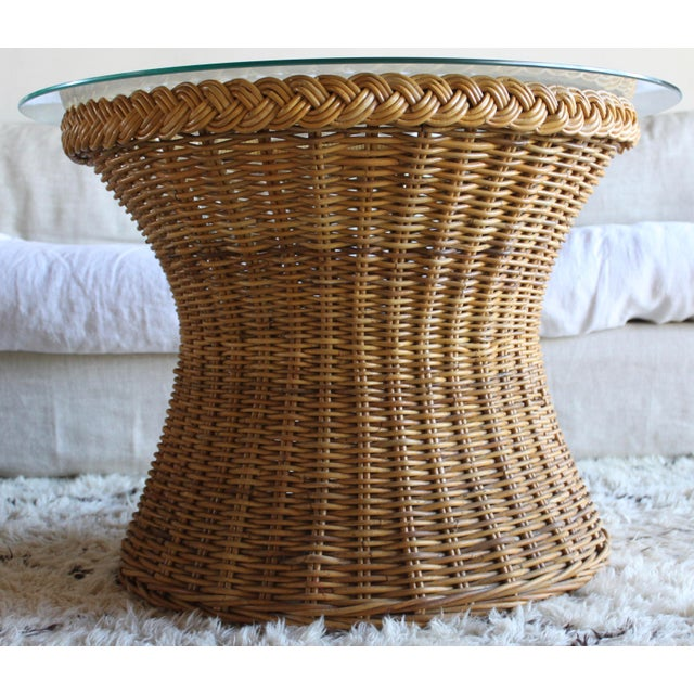 Franco Albini Vintage Mid Century the Wicker Works San Franisco Rattan Woven High End Tulip Side Table Albini Style For Sale - Image 4 of 7