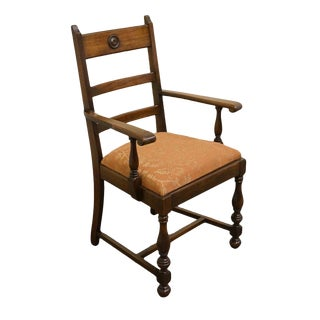 1940s Antique Walnut Dining Armchair For Sale