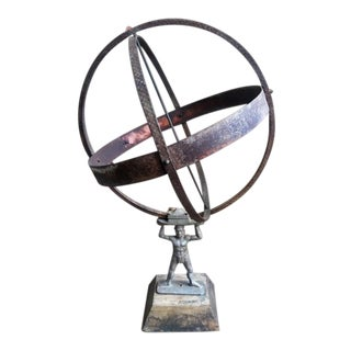 Vintage Atlas Armillary Sundial on Base For Sale