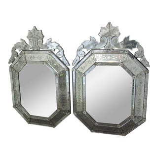 1930s Hollywood Regency Venetian Etched Mirrors - a Pair For Sale