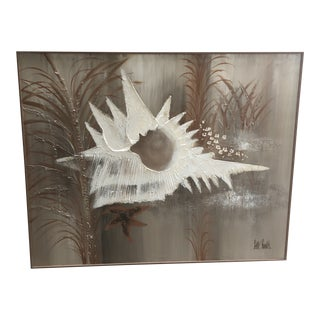 1980s Abstract Shell Painting by Lee Reynolds, Framed For Sale