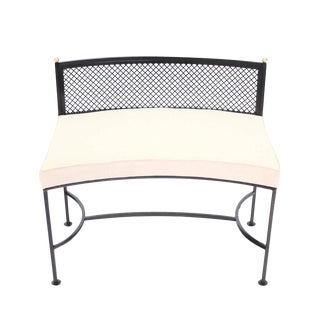 Wrought Iron Curved Bench New Upholstery For Sale