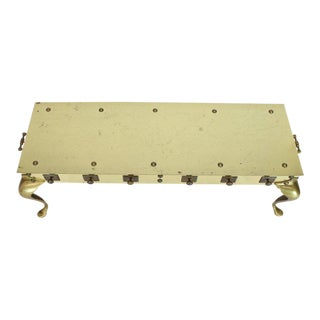 1970s Campaign Solid Brass Studded Rectangular Table With Carry Handles For Sale