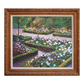 """1990s """"Garden Scene"""" Botanical Landscape Oil Painting, Framed For Sale"""