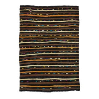 "Striped Vintage Decorative Kilim Rug-7'2x10'2"" For Sale"