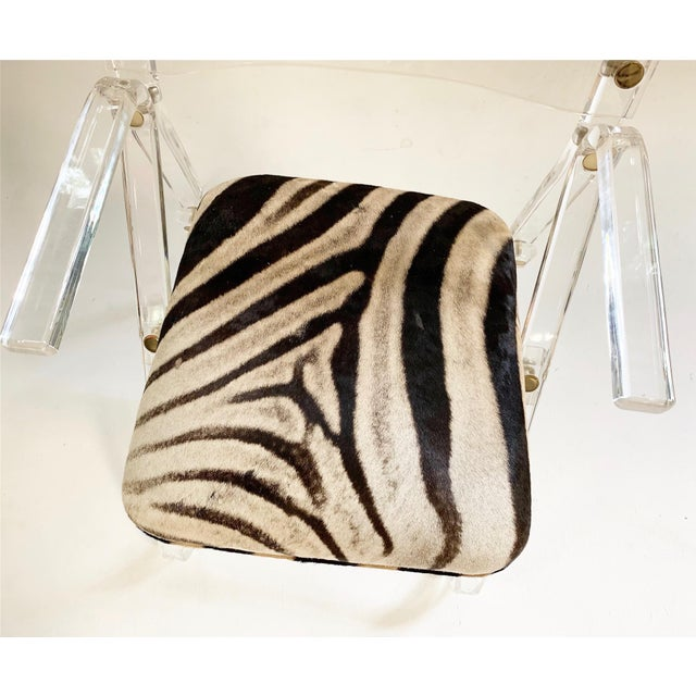 Lucite Desk Chair in Zebra Hide For Sale In Saint Louis - Image 6 of 7