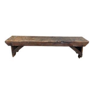Late 19th Century Antique Wooden Farmhouse Bench For Sale