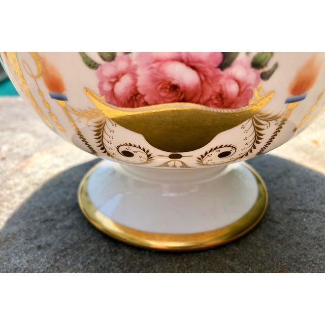 Ceramic 19th English Traditional Davenport Gilt Decorated Billingsley Roses Bowl For Sale - Image 7 of 12