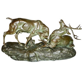 Early 20th Century Bronze Fighting Stags Sculpture by Thomas Francois Cartier For Sale