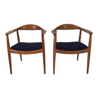 "1960s Mid century Modern Hans J. Wegner Oak ""The Chair"" - a Pair"