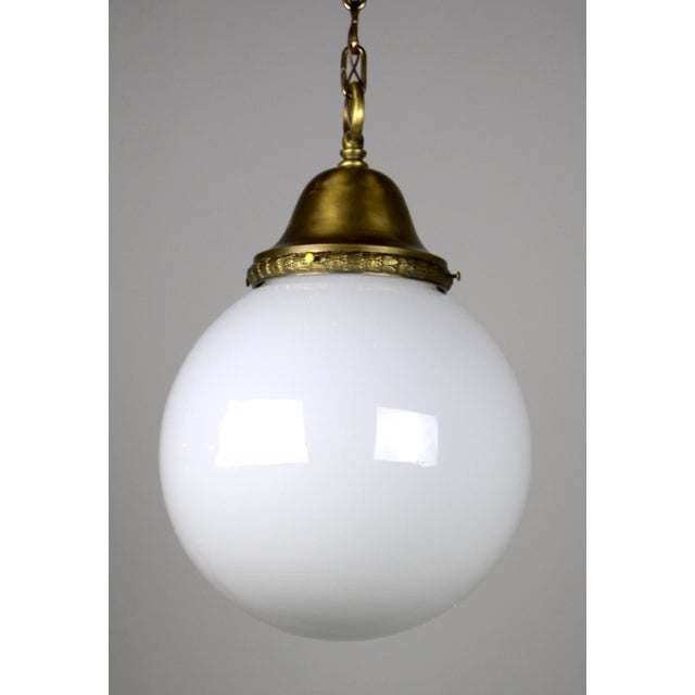Pendant Fixture with Ball Shade For Sale - Image 5 of 6