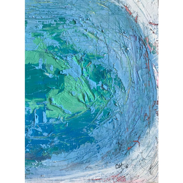 """Blue Original Mixed Media Painting """"Colliding Worlds"""" For Sale - Image 8 of 10"""