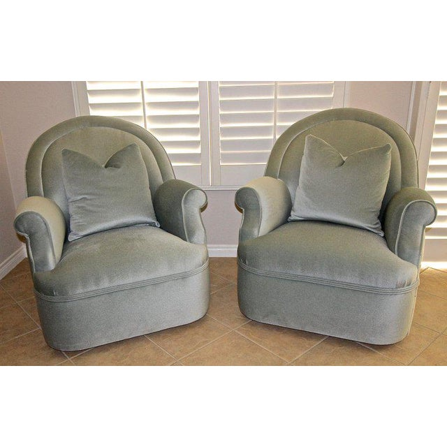 Pair of Custom Mohair Seafoam Green Lounge Club Chairs For Sale - Image 10 of 13