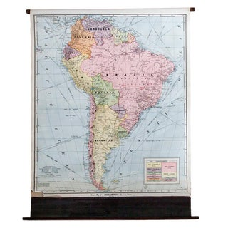 Vintage Cram's Pull Down Map of South America For Sale