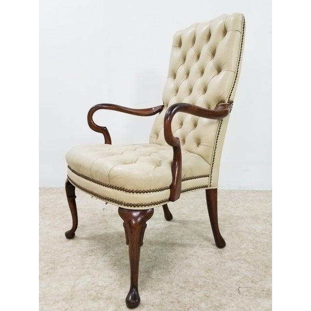 Wood Mid Century Executive Leather and Wood Tufted Chesterfield Armchair For Sale - Image 7 of 13