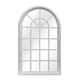 Distressed White Solid Wood Window Pane Wall Mirror For Sale