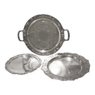 M.M. Co. Silver-Plated Serving Trays - Set of 3 For Sale