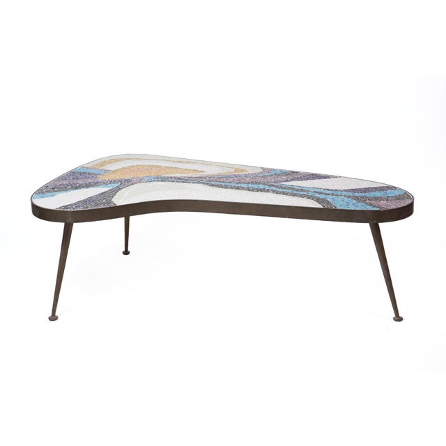 Abstract Margot Stewart Mosaic & Patinated Brass Free-Form Coffee Table For Sale - Image 4 of 7
