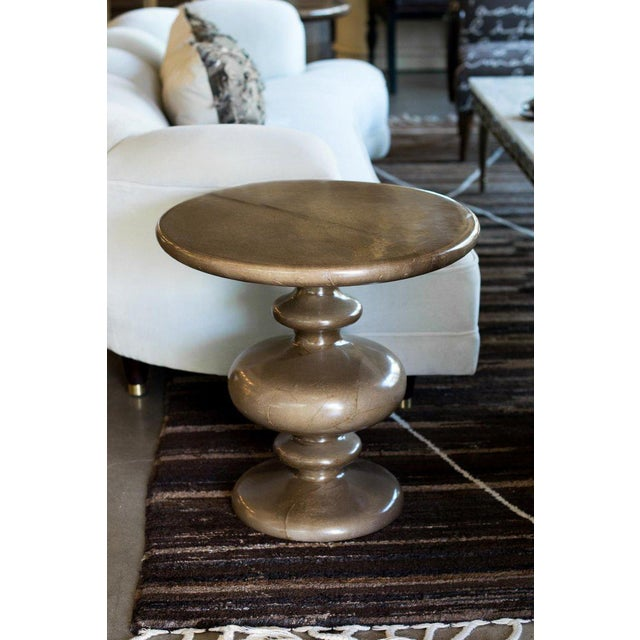 Mid-Century Modern Pair of Goatskin Side Tables in the Manner of Aldo Tura For Sale - Image 3 of 12