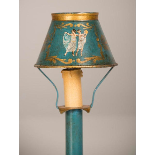 Gold A rare Louis XVI style hand painted tôle lamp from France c. 1840 wired for American electricity For Sale - Image 8 of 9