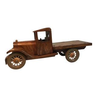 Signed Wooden Folk Art Truck For Sale
