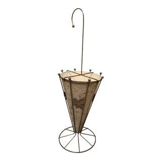 1960s Vintage Metal Gold Splatter Umbrella Stand For Sale
