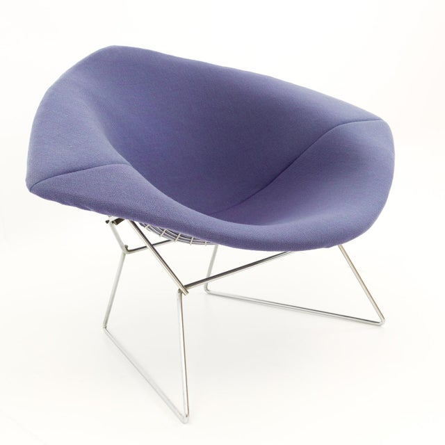 Purple Vintage Mid-Century Harry Bertoia for Knoll Diamond Rocking Chair & Ottoman - 2 Pieces For Sale - Image 8 of 13