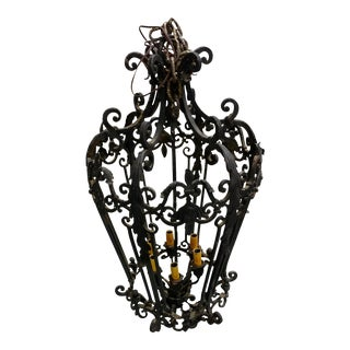 Spanish Revival Wrought Iron Chandelier For Sale