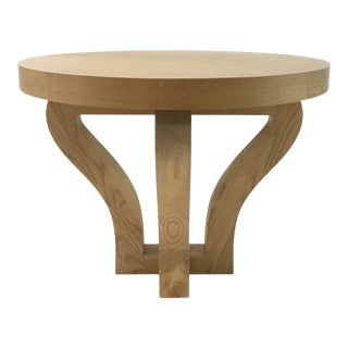 Organic Modern Oak Round End Table For Sale