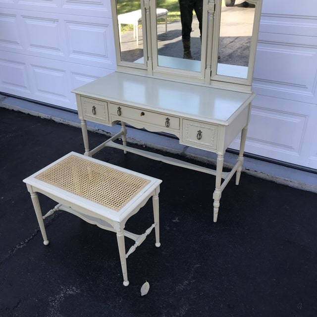 Wood 1930's Adams Style Vanity W/Mirror Cane Bench For Sale - Image 7 of 11
