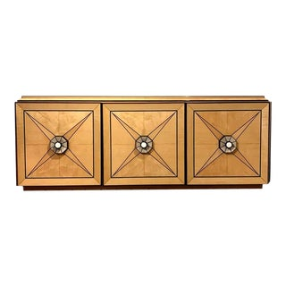 One of a Kind Craftsman Credenza of Mixed Woods, Brass and Stingray Shagreen For Sale