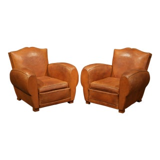 """Pair of Early 20th Century French Leather Club Armchairs """"Moustache Syle"""""""