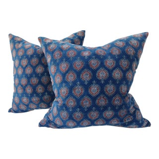 Vintage Indigo Velvet Pillows - A Pair