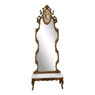 1950s Vintage Italian Regency Gold Gilt Marble Top Pier Mirror For Sale