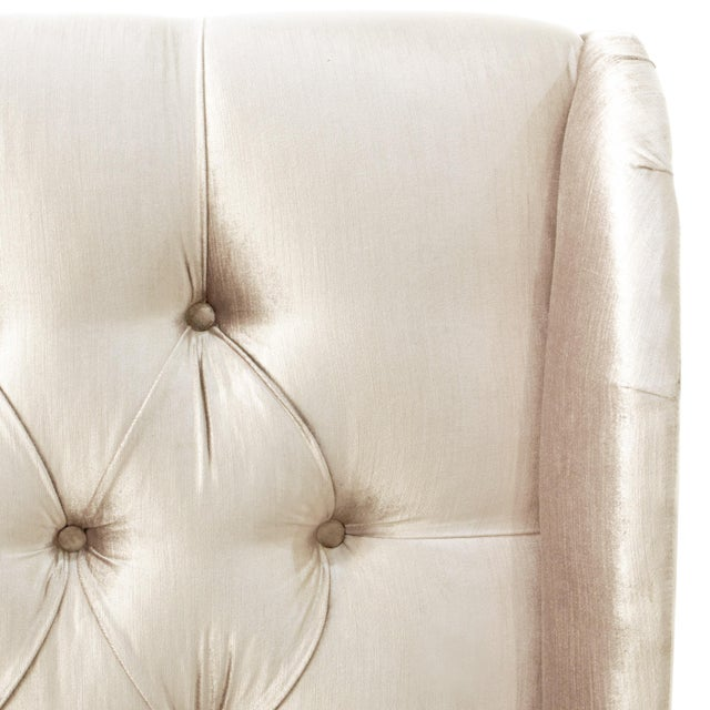 Contemporary Twin Tufted Wingback Headboard in Majestic Oyster For Sale - Image 3 of 6