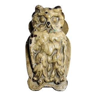 Vintage Painted Figural Cast Iron Owl Door Knocker Desk Clip Bird For Sale