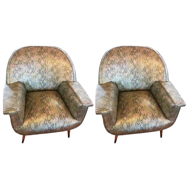 Italian Mid-Century Modern Club Chairs with Faux Snake Skin - A Pair For Sale
