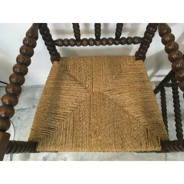 French Pair of Antique French Oak Spool Chairs For Sale - Image 3 of 8